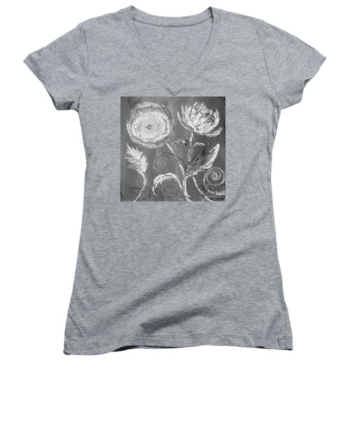 Women's V-Neck T-Shirt featuring the digital art Winter Bloom II by Robin Maria Pedrero