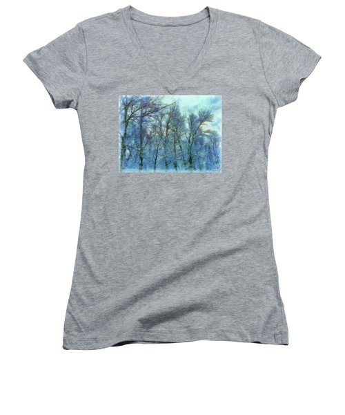 Winter Blue Forest Women's V-Neck (Athletic Fit)