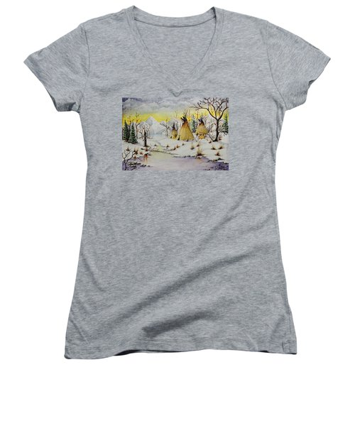 Winter Camp Women's V-Neck T-Shirt (Junior Cut) by Jimmy Smith