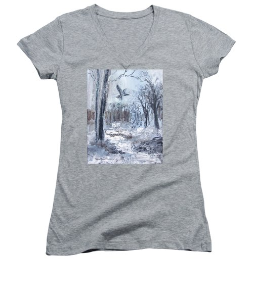 Women's V-Neck T-Shirt featuring the painting Winter Caws by Robin Maria Pedrero
