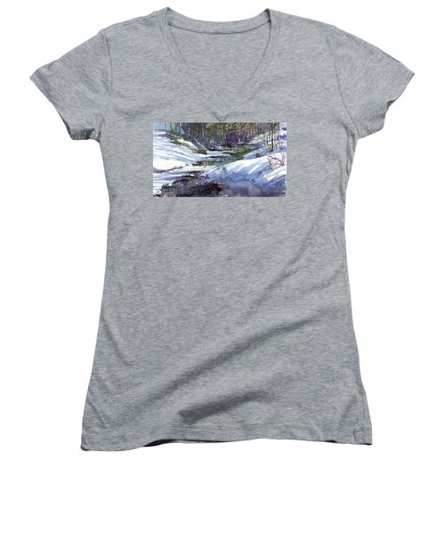 Women's V-Neck featuring the painting Winter Creekbed by Andrew King
