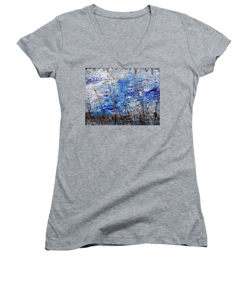 Women's V-Neck T-Shirt (Junior Cut) featuring the painting Winter Crisp by Jacqueline Athmann