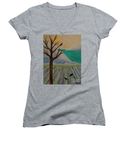 Winter Crows Women's V-Neck T-Shirt (Junior Cut) by Jeanette French