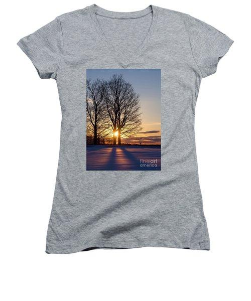 Women's V-Neck T-Shirt (Junior Cut) featuring the photograph Winter, Crystal Spring Farm, Brunswick, Maine -78592 by John Bald
