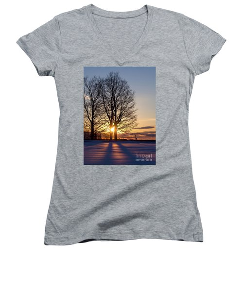 Winter, Crystal Spring Farm, Brunswick, Maine -78592 Women's V-Neck T-Shirt