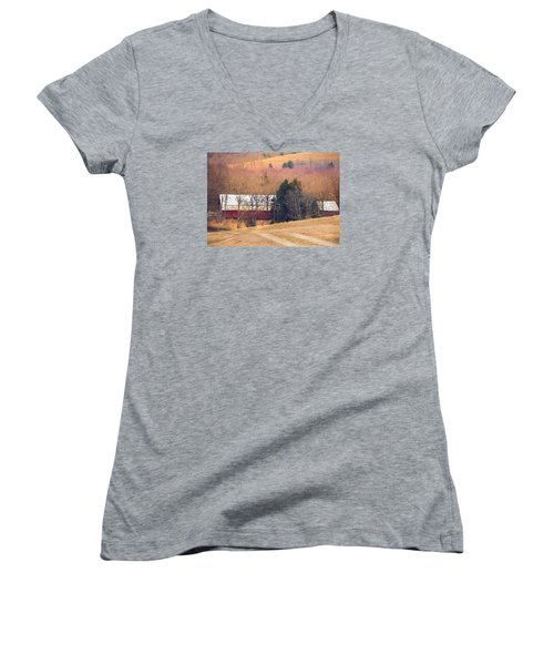 Women's V-Neck T-Shirt (Junior Cut) featuring the photograph Winter Day At The Farm by Debbie Karnes