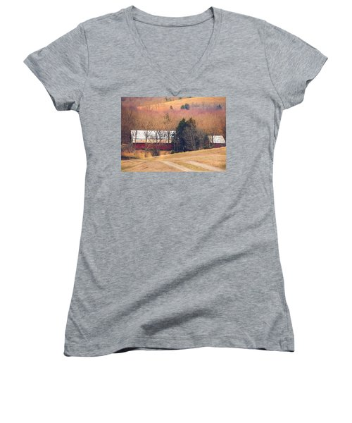 Winter Day On A Tennessee Farm Women's V-Neck T-Shirt (Junior Cut) by Debbie Karnes
