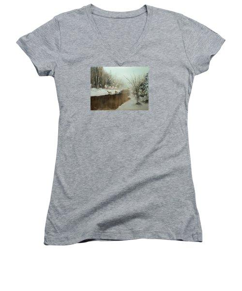 Women's V-Neck T-Shirt (Junior Cut) featuring the painting Winter Deer Run by Chris Fraser