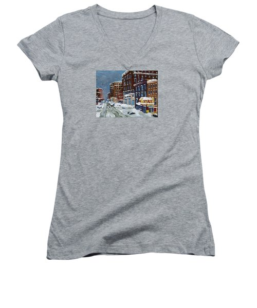Winter Downtown Women's V-Neck T-Shirt (Junior Cut) by Rodger Ellingson