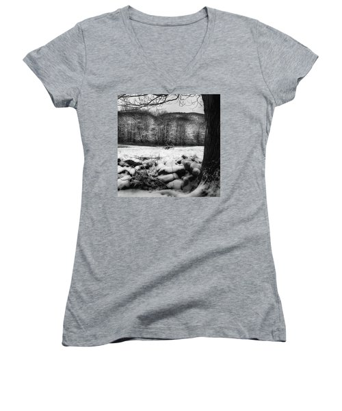 Women's V-Neck T-Shirt (Junior Cut) featuring the photograph Winter Dreary Square by Bill Wakeley