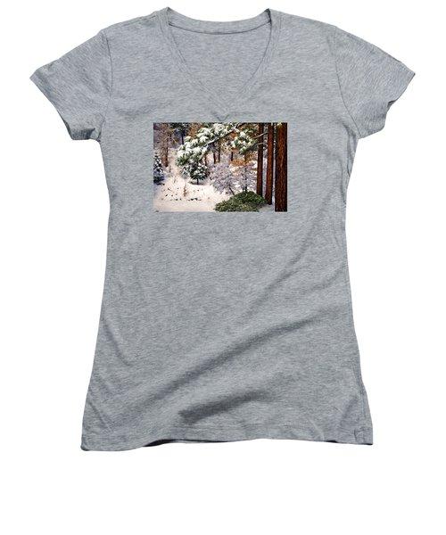 Winter Forest Women's V-Neck T-Shirt