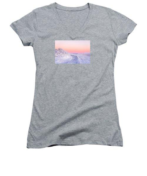 Winter Glow On Roan Mountain Women's V-Neck T-Shirt