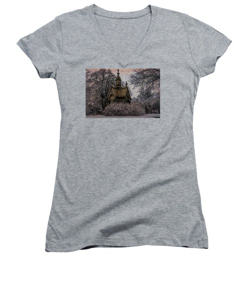 Women's V-Neck T-Shirt featuring the digital art Winter Gothik by Chris Lord