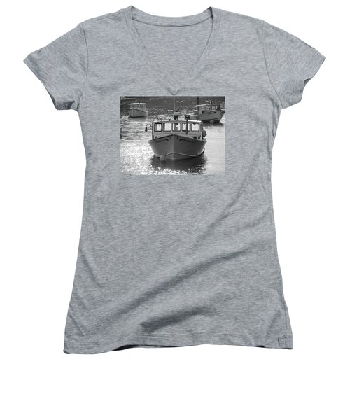 Winter Harbor, Maine  Women's V-Neck T-Shirt (Junior Cut) by Trace Kittrell