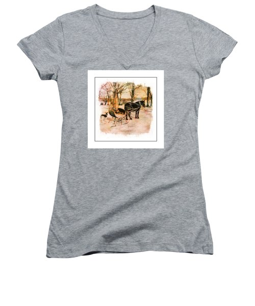 Winter Horse Sled Women's V-Neck (Athletic Fit)