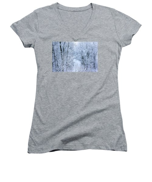 Winter Ice Storm Women's V-Neck (Athletic Fit)