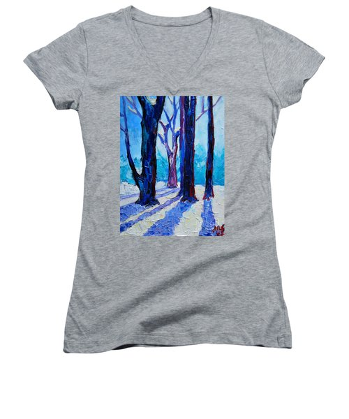 Women's V-Neck T-Shirt (Junior Cut) featuring the painting Winter Impression by Ana Maria Edulescu