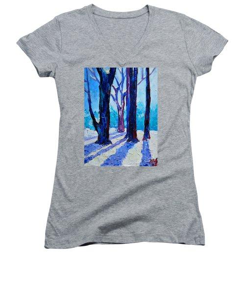 Winter Impression Women's V-Neck T-Shirt (Junior Cut) by Ana Maria Edulescu