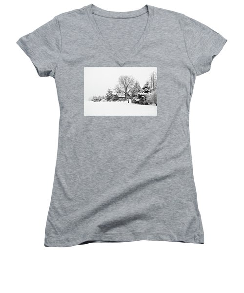 Winter In Black And White Fleckl, Germany 2 Women's V-Neck