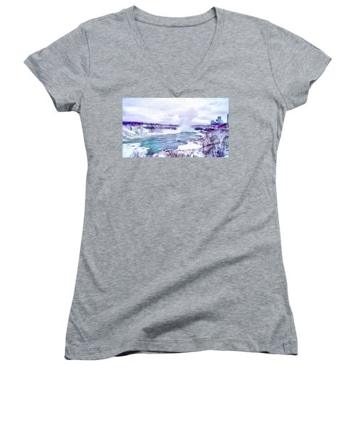 Winter In Niagara 1 Women's V-Neck (Athletic Fit)