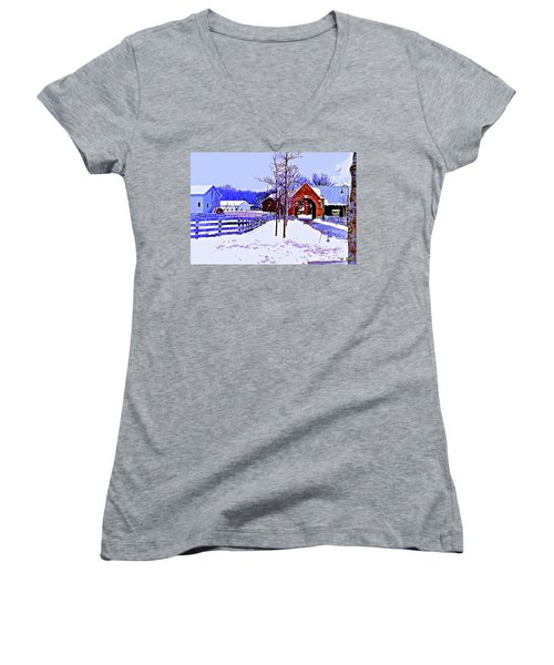 Winter In The Village Women's V-Neck T-Shirt