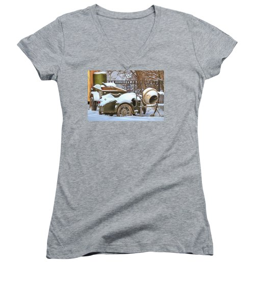winter in the village Russian Women's V-Neck (Athletic Fit)