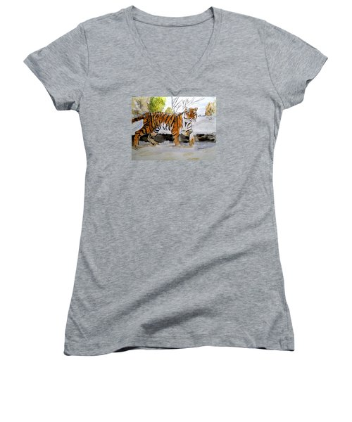 Winter In The Zoo Women's V-Neck T-Shirt (Junior Cut) by Carol Grimes