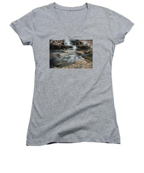 Women's V-Neck T-Shirt (Junior Cut) featuring the photograph Winter Inthe Falls by Iris Greenwell