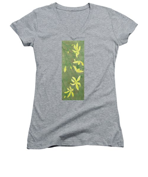 Women's V-Neck T-Shirt (Junior Cut) featuring the painting Winter Jasmine by Barbara Moignard