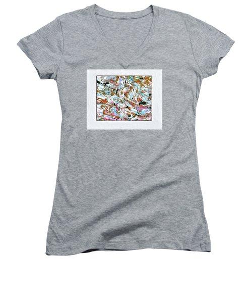 Winter Joy Women's V-Neck T-Shirt (Junior Cut) by Donna Blackhall