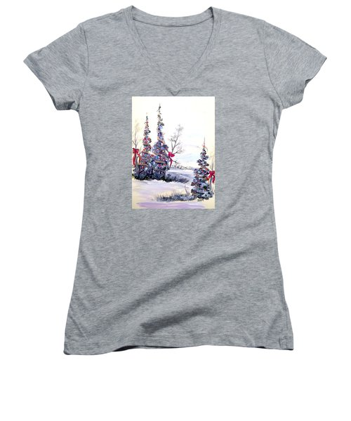 Women's V-Neck T-Shirt (Junior Cut) featuring the painting Winter Joy by Dorothy Maier