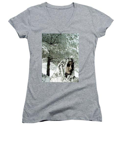 Winter Lace Women's V-Neck T-Shirt (Junior Cut) by Lyric Lucas