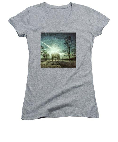 Winter Landscape Women's V-Neck T-Shirt (Junior Cut) by Oleg Shagapov