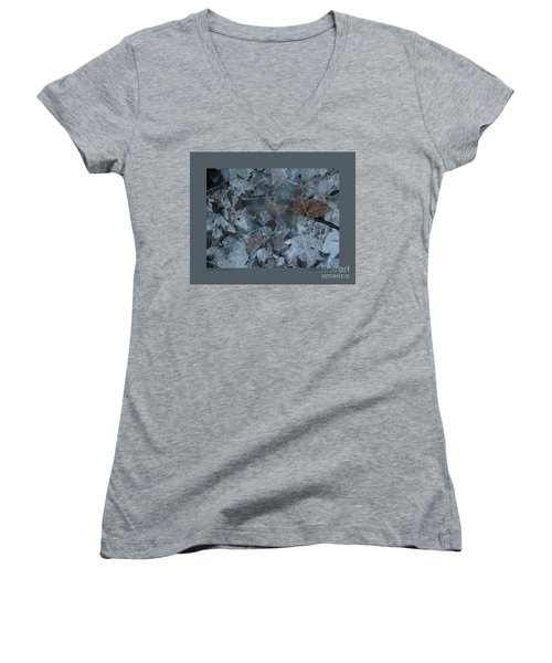Women's V-Neck T-Shirt (Junior Cut) featuring the photograph Winter Leaf Abstract-v by Patricia Overmoyer