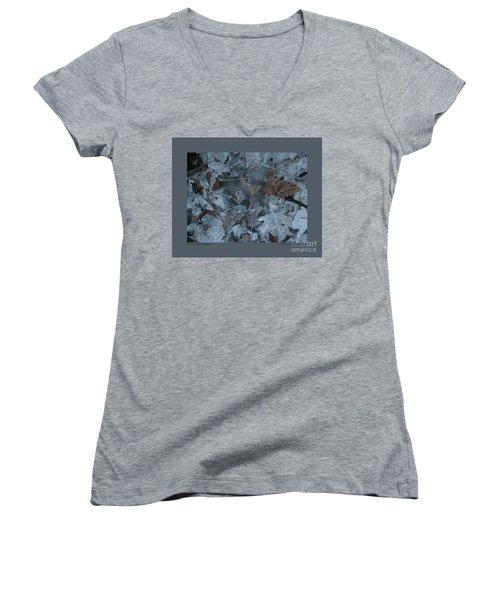 Winter Leaf Abstract-v Women's V-Neck T-Shirt