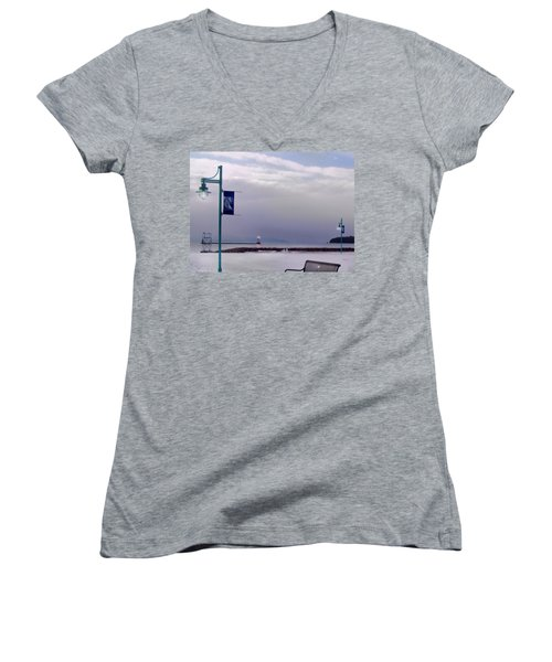Winter Lights To Rock Point - Derivative Of Evening Sentries At The Coast Guard Station Women's V-Neck (Athletic Fit)