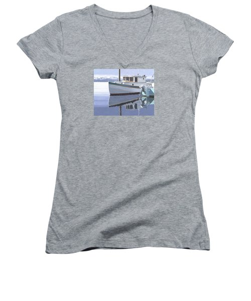 Women's V-Neck T-Shirt (Junior Cut) featuring the painting Winter Moorage by Gary Giacomelli