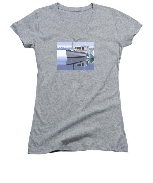 Winter Moorage Women's V-Neck T-Shirt (Junior Cut) by Gary Giacomelli