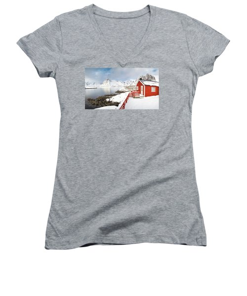 Winter Morning Women's V-Neck T-Shirt (Junior Cut) by Alex Conu