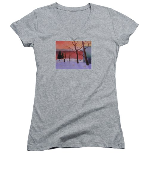 Winter Ocean Sunrise Women's V-Neck (Athletic Fit)