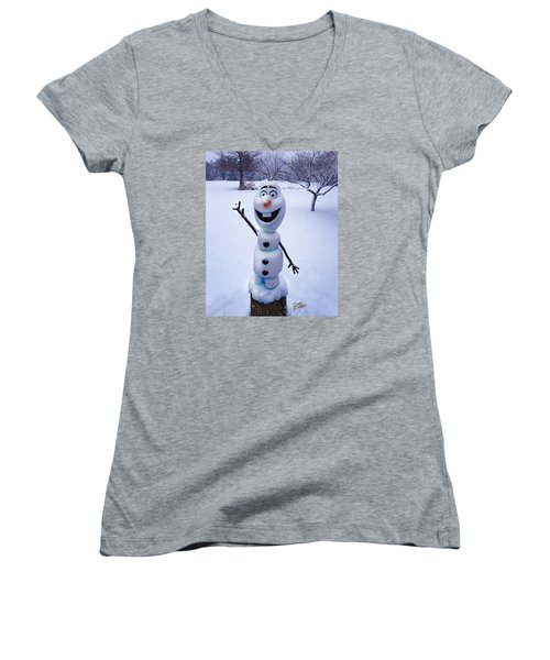 Women's V-Neck T-Shirt (Junior Cut) featuring the sculpture Winter Olaf by Doug Kreuger