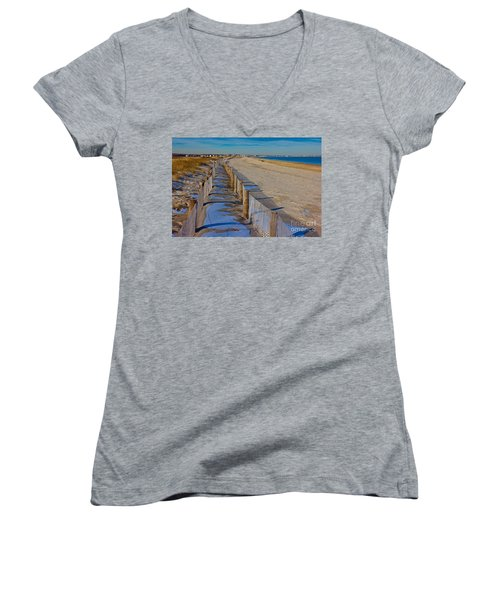 Women's V-Neck T-Shirt (Junior Cut) featuring the photograph Winter On Duxbury Beach by Amazing Jules
