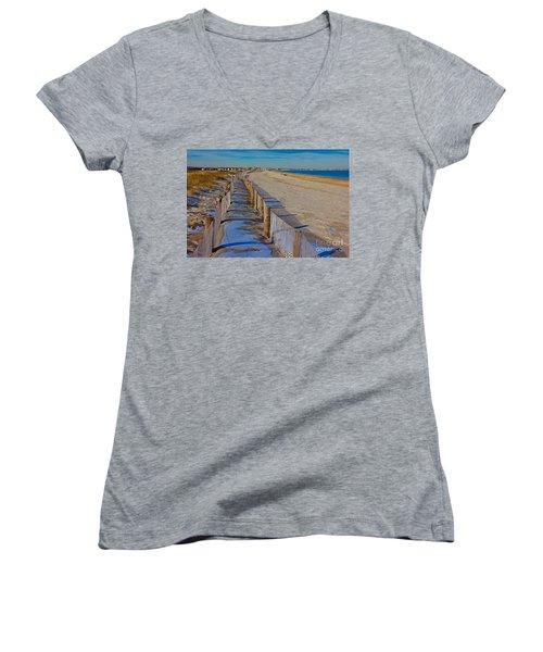 Winter On Duxbury Beach Women's V-Neck T-Shirt