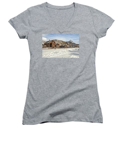 Women's V-Neck featuring the photograph Winter On Main Street by Scott Read