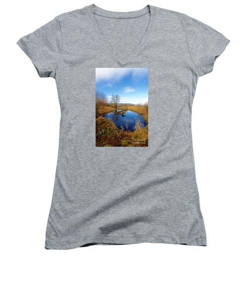 Winter Pond Women's V-Neck T-Shirt (Junior Cut)