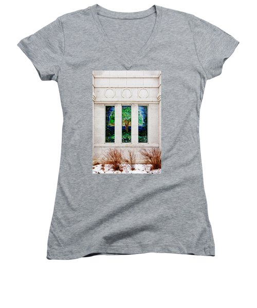 Winter Quarters Temple Tree Of Life Stained Glass Window Details Women's V-Neck T-Shirt