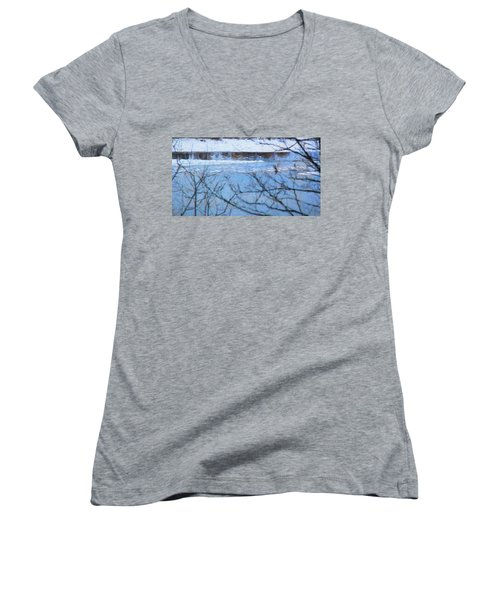 Women's V-Neck T-Shirt (Junior Cut) featuring the photograph Winter River by Kathy Bassett