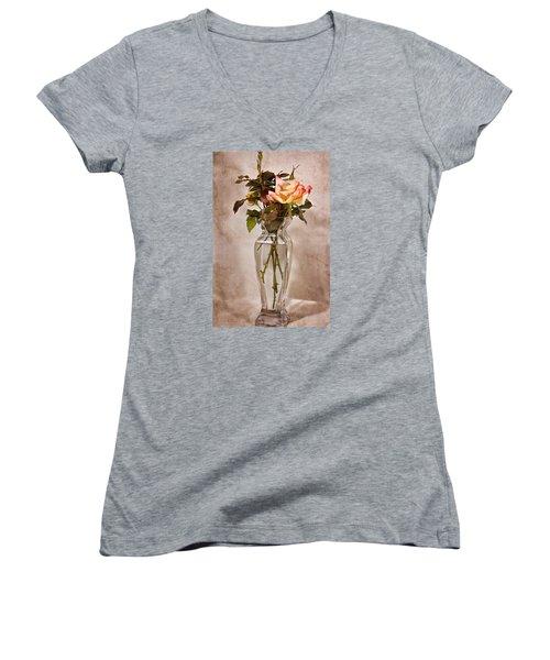 Women's V-Neck T-Shirt (Junior Cut) featuring the photograph Winter Rose by Joan Bertucci