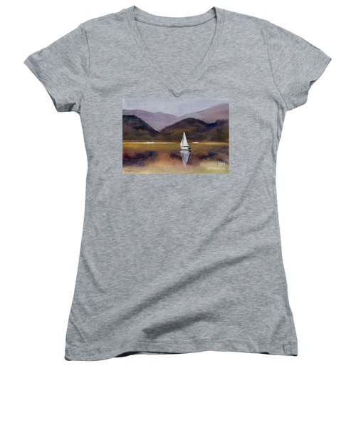 Winter Sailing At Our Island Women's V-Neck T-Shirt (Junior Cut) by Randy Sprout