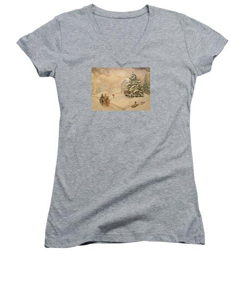 Women's V-Neck T-Shirt (Junior Cut) featuring the painting Winter Scene by John Stuart Webbstock